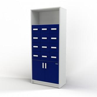 Шкаф картотечный (полки/глухие дверцы) 105-004-3