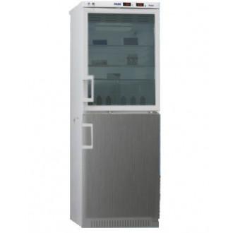Холодильник фармацевтический двухкамерный ХФД-280(ТС) (140/140 л) с дверью из металлопласта и с тонированной стеклянной дверью серебряного цвета