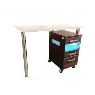 Стол маникюрный однотумбовый со стеклянной столешницей и УФ-блоком