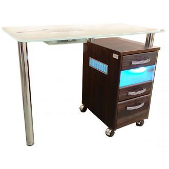 Стол маникюрный однотумбовый со стеклянной столешницей и УФО-блоком и вытяжкой